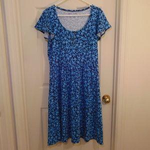 Draper James Blue Floral Midi Dress Medium